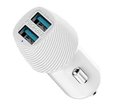 Promate Voltrip-DUO Mobile Car Charger With 2 USB Ports 3.4a White.