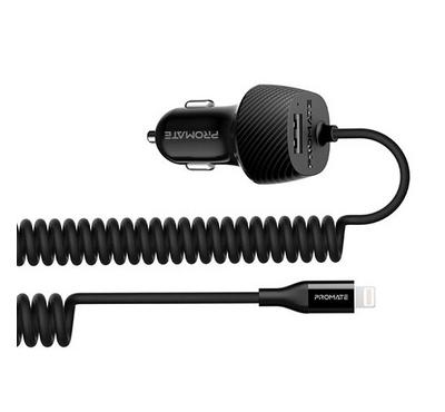 Promate VolTrip-I Mobile Car Charger With Lightning Coiled Cable 1 USB 3.4am Black
