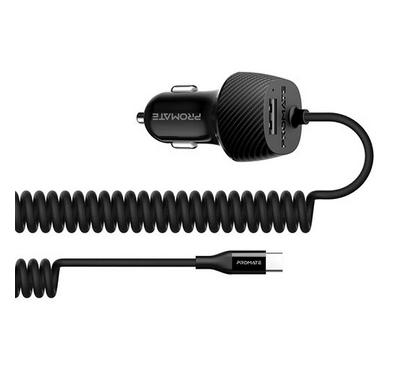 Promate VolTrip-C Mobile Car Charger With USB-C Coiled Cable 1 USB 3.4am Black