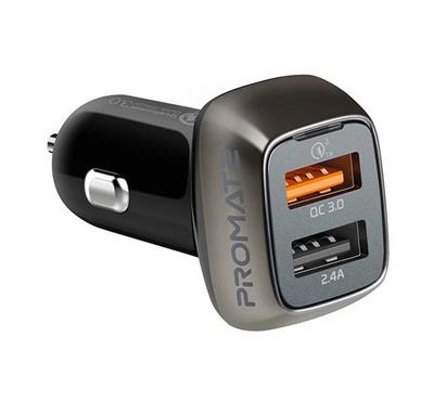 Promate SCUD-30 QC 3.0 Mobile Car Charger 2 USB Ports 30W 2.4a Black