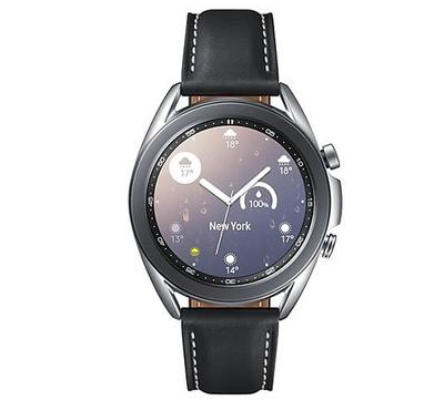 Samsung Galaxy Watch3, 41mm Smart Watch,Leather Strap, Mystic Silver.