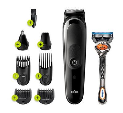 Braun 8-in-1 All-in-One Trimmer, Beard Trimmer and Hair Clipper, Black/Blue