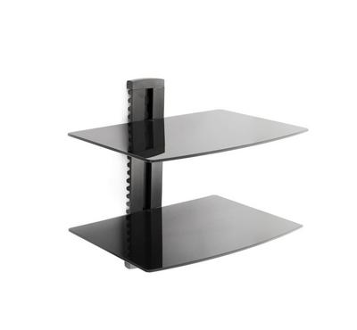 Brateck Universal shelf wall mount 2 levels, 5mmTempered Glass Size 380x280mm Max Weight 8Kg×2