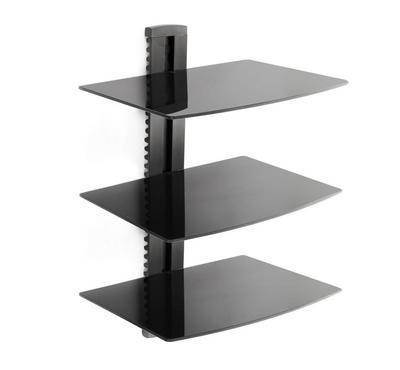 Brateck Universal shelf wall mount 3 levels, 5mmTempered Glass Size 380x280mm Max Weight 8Kg×3