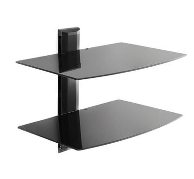 Brateck Universal shelf wall mount 2 levels, 5mmTempered Glass Size 450x330mm Max Weight 8Kg×2