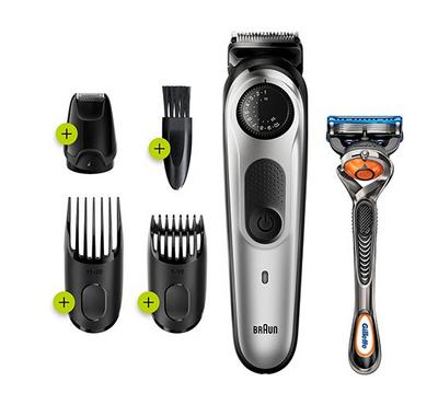 Braun Beard Trimmer and Hair Clipper, Mini Foil Shaver attachment, Black/Silver
