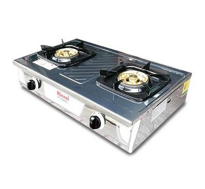 Rinnai 2 Burner Gas Stove, Stainless Steel Front Panel, Heavy Duty