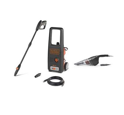Black+Decker 1400W Pressure Washer, 110 Bar Pressure Washer+Hand Vacuum Cleaner, Black.