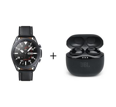 Samsung Galaxy Watch 3 45mm Leather Black Strap Plus JBL Black Earbuds