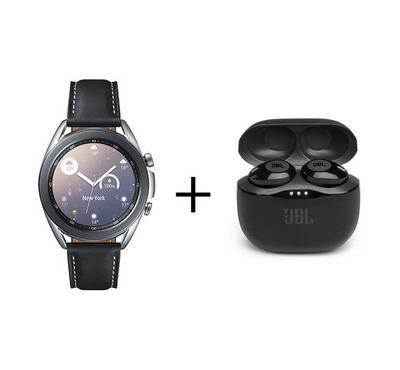 Samsung Galaxy Watch 3 41mm Leather Strap Silver Plus JBL Black Earbuds