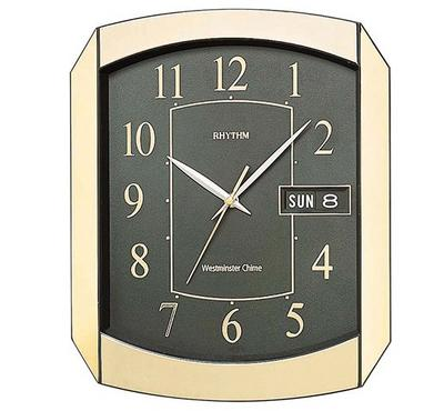 Rhythm, WESTMINSTER CHIME Quartz Wall Clock With Calendar Day/Date Gold/Black