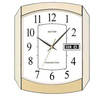 Rhythm, WESTMINSTER CHIME Quartz Wall Clock With Calendar Day/Date Gold/White