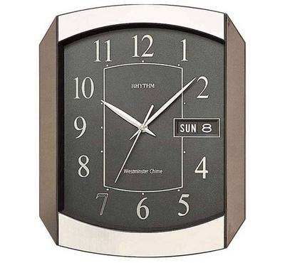 Rhythm, WESTMINSTER CHIME Quartz Wall Clock With Calendar Day/Date Gold/Wooden/Black