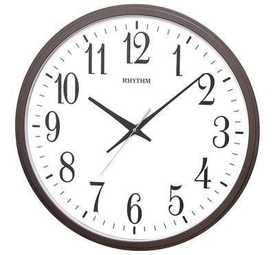 Rhythm, Quartz Jumbo Wall Clock With Silent Silky Move Brown/White
