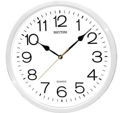 Rhythm, Quartz Wall Clock With 3D Numerals Plastic Case White
