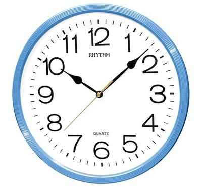 Rhythm, Quartz Wall Clock With 3D Numerals Plastic Case Sky Blue/White