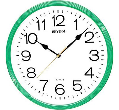 Rhythm, Quartz Wall Clock With 3D Numerals Plastic Case Green/White