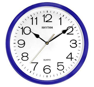 Rhythm, Quartz Wall Clock With 3D Numerals Plastic Case Blue/White