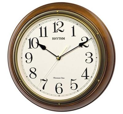 Rhythm, WESTMINSTER CHIME Quartz Wall Clock Wooden Case Brown/White