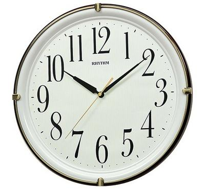 Rhythm, Quartz Wall Clock With Silent Silky Move Superluminous Brown/White