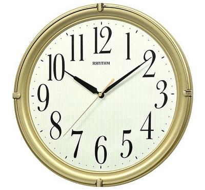 Rhythm, Quartz Wall Clock With Silent Silky Move Superluminous Gold/White