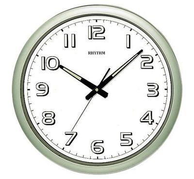 Rhythm, Quartz Wall Clock With Silent Silky Move Superluminous Plastic Green/White
