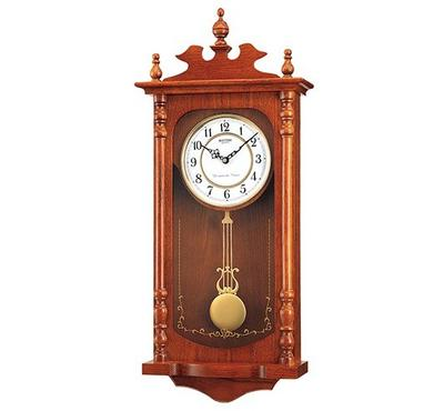 Rhythm, WESTMINSTER CHIME Quartz Wall Clock With Striking Pendulum Wooden Case White/Brown