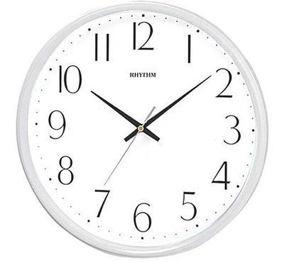 Rhythm, Quartz Wall Clock With Silent Silky Move Plastic Case, White
