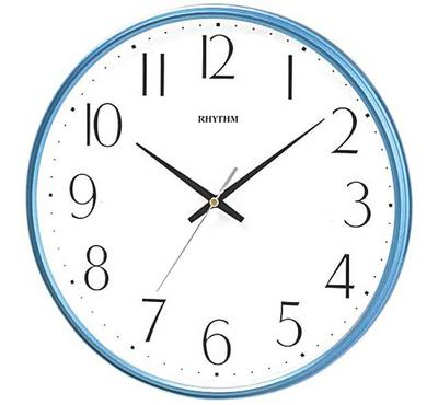 Rhythm, Quartz Wall Clock With Silent Silky Move Plastic Case, Blue/White