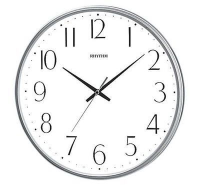Rhythm, Quartz Wall Clock With Silent Silky Move Plastic Case Silver/White