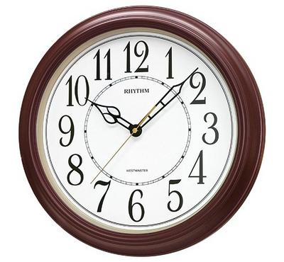 Rhythm, WESTMINSTER Quartz Wall Clock Wooden Brown/White