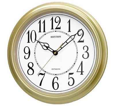 Rhythm, WESTMINSTER Quartz Wall Clock Gold/White