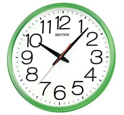Rhythm, Quartz Wall Clock With 3D Numerals Silent Silky Move Plastic Case Green/White
