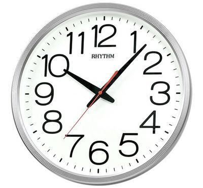 Rhythm, Quartz Wall Clock With 3D Numerals Silent Silky Move Plastic Case Silver/White