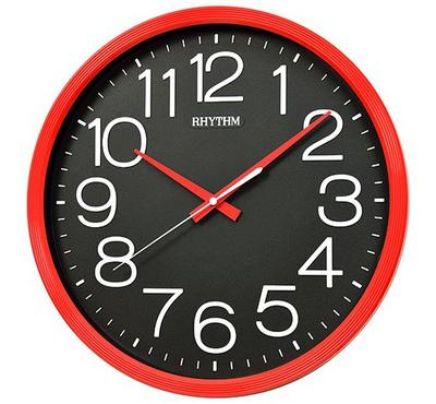 Rhythm, Quartz Wall Clock With 3D Numerals Silent Silky Move Plastic Case Red/Black