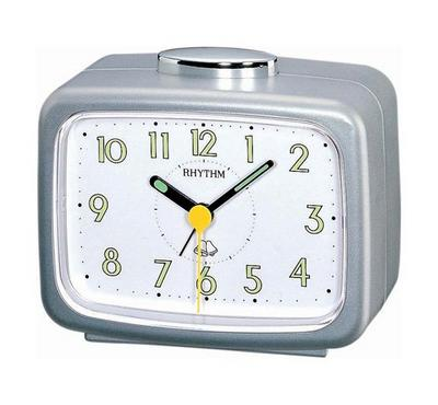 Rhythm Quartz Alarm Clock With Bell Alarm Plastic Case White/Silver