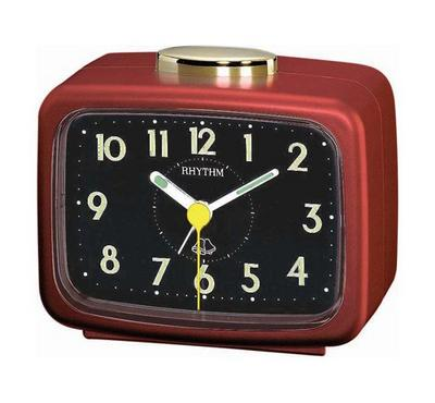 Rhythm Quartz Alarm Clock With Bell Alarm Plastic Case Black/Red