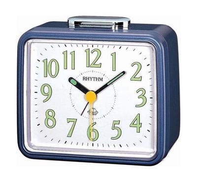 Rhythm Quartz Alarm Clock With Bell Alarm Plastic Case White/Blue