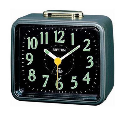 Rhythm Quartz Alarm Clock With Bell Alarm Plastic Case Black/Green