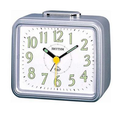 Rhythm Quartz Alarm Clock With Bell Alarm Plastic Case White/Silver
