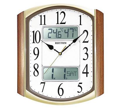 Rhythm Quartz Wall Clock With Digital Calendar & Temperature Wooden Brown/Gold/White