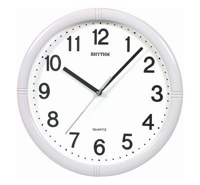 Rhythm Quartz Wall Clock With 3D Numerals Silent Silky Move Plastic Case White
