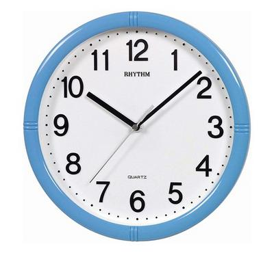 Rhythm Quartz Wall Clock With 3D Numerals Silent Silky Move Plastic Case Blue/White