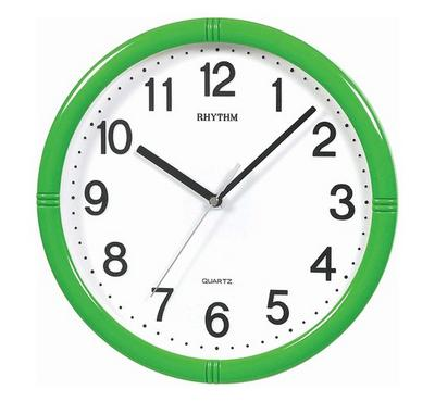 Rhythm Quartz Wall Clock With 3D Numerals Silent Silky Move Plastic Case Green/White