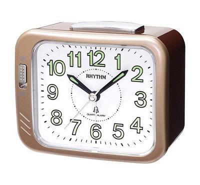 Rhythm Quartz Alarm Clock With Bell Alarm Plastic Case Gold
