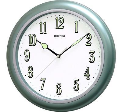 Rhythm Quartz Wall Clock With Superluminous Plastic Case Green/White