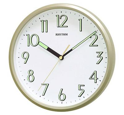 Rhythm Quartz Wall Clock With Superluminous Plastic Case Gold/White