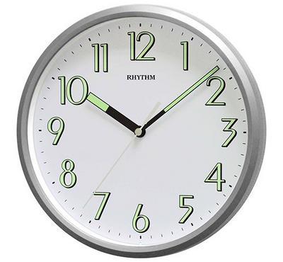 ريثم ساعة حائط، فضي أبيض