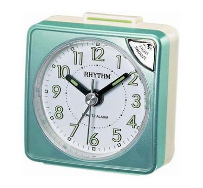 Rhythm Quartz Alarm Clock With Light Snooze 4 Step Increasing Beep Green/White