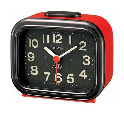 Rhythm Quartz Alarm Clock With Bell Alarm Plastic Case Black/Red